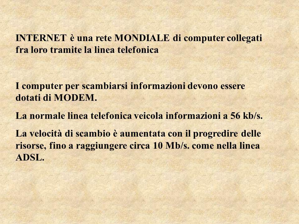 INTERNET è una rete MONDIALE di computer collegati fra loro tramite la linea telefonica I computer per scambiarsi informazioni devono essere dotati di MODEM.