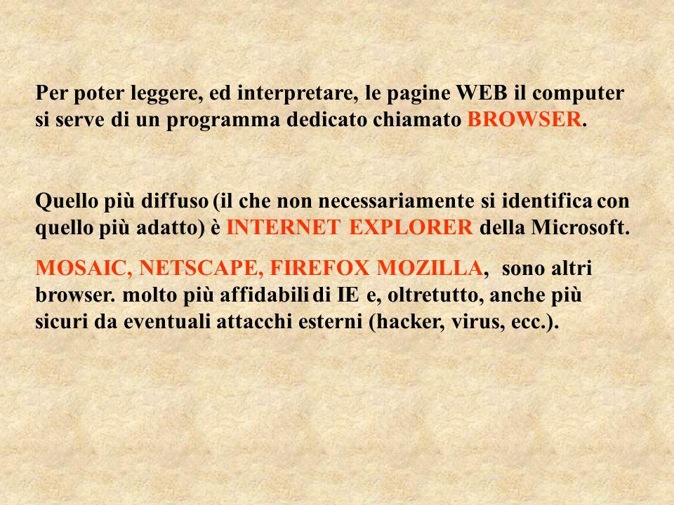 Per poter leggere, ed interpretare, le pagine WEB il computer si serve di un programma dedicato chiamato BROWSER.