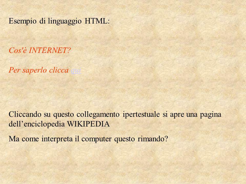 Esempio di linguaggio HTML: Cos è INTERNET.