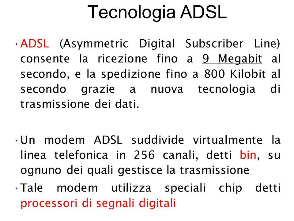 Tecnologia ADSL ADSL (Asymmetric Digital Subscriber Line) consente la ricezione fino a 9 Megabit al secondo, e la spedizione fino a 800 Kilobit al secondo grazie a nuova tecnologia di trasmissione dei dati.
