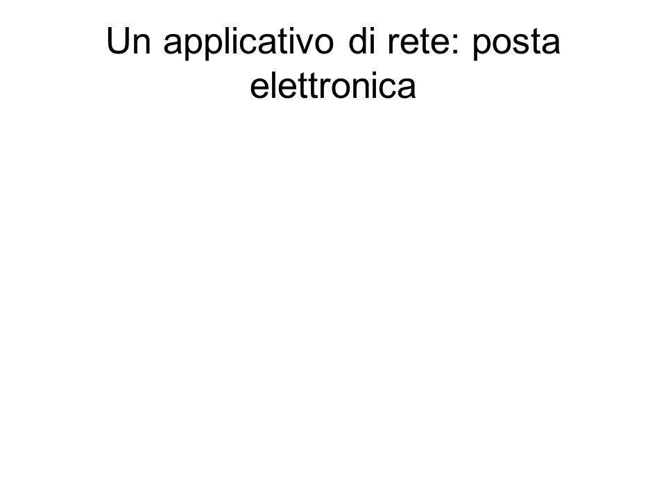 Un applicativo di rete: posta elettronica