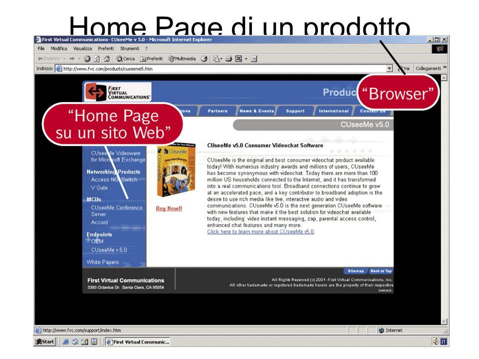 Home Page di un prodotto commerciale