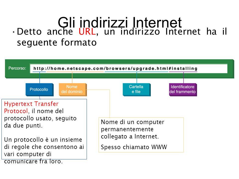 Gli indirizzi Internet Detto anche URL, un indirizzo Internet ha il seguente formato Hypertext Transfer Protocol, il nome del protocollo usato, seguito da due punti.