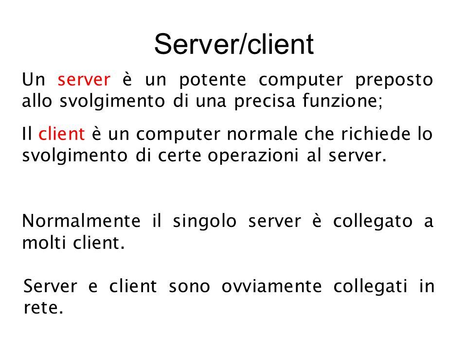 Server/client Un server è un potente computer preposto allo svolgimento di una precisa funzione; Il client è un computer normale che richiede lo svolgimento di certe operazioni al server.