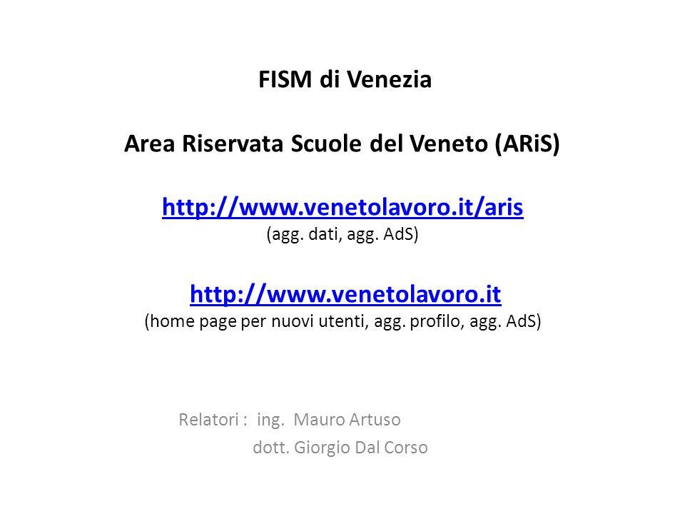 per riassumere le attività di base sono : all'indirizzo http://www.venetolavoro.it/arishttp://www.venetolavoro.it/aris aggiornare l'AdS (accordo di servizio) aggiornare l'anagrafe dell'istituto aggiornare i dati della popolazione scolastica eventualmente all'indirizzo http://www.venetolavoro.ithttp://www.venetolavoro.it aggiornare il profilo (cioè i dati personali del legale rappresentante e quella della azienda-scuola) ARIS 09.201032