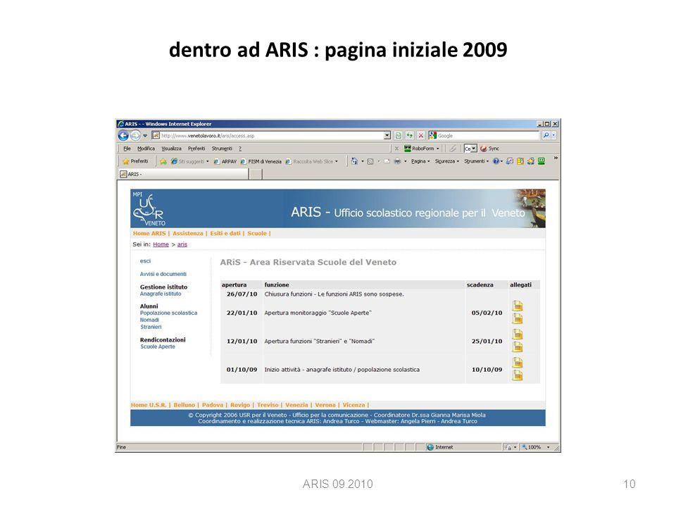 dentro ad ARIS : pagina iniziale 2009 ARIS 09.201010