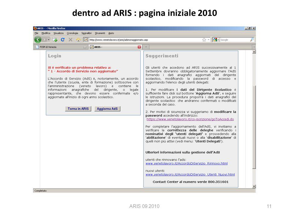 dentro ad ARIS : pagina iniziale 2010 ARIS 09.201011