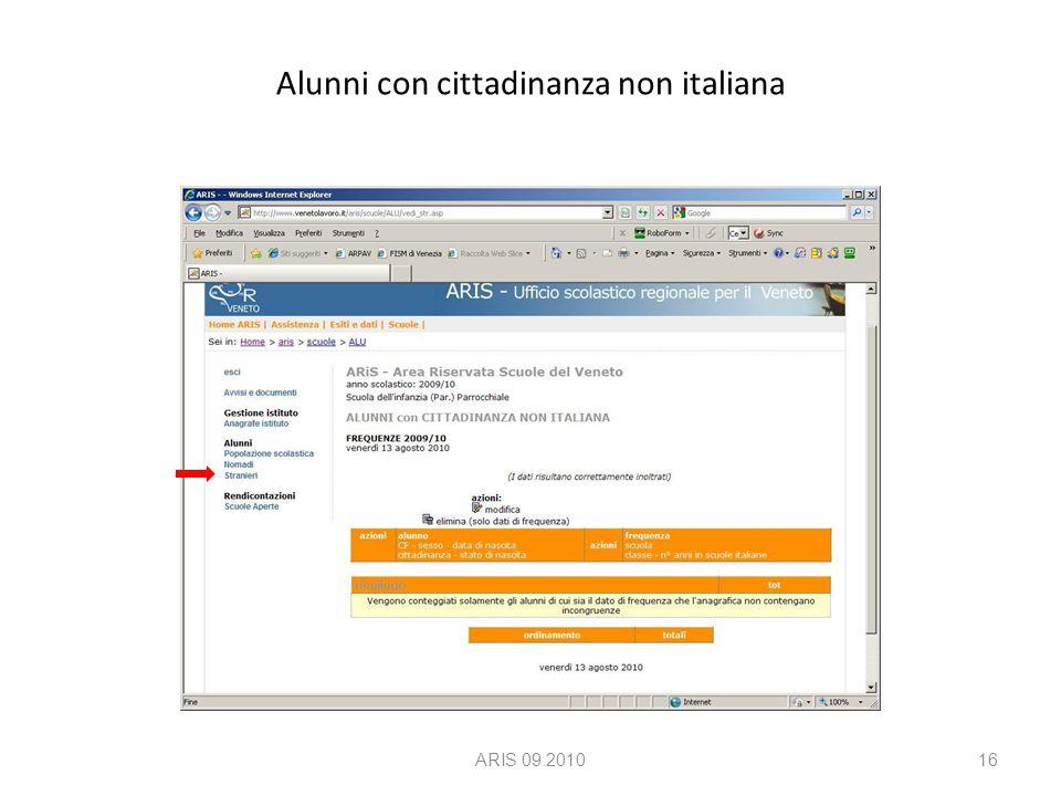 Alunni con cittadinanza non italiana ARIS 09.201016