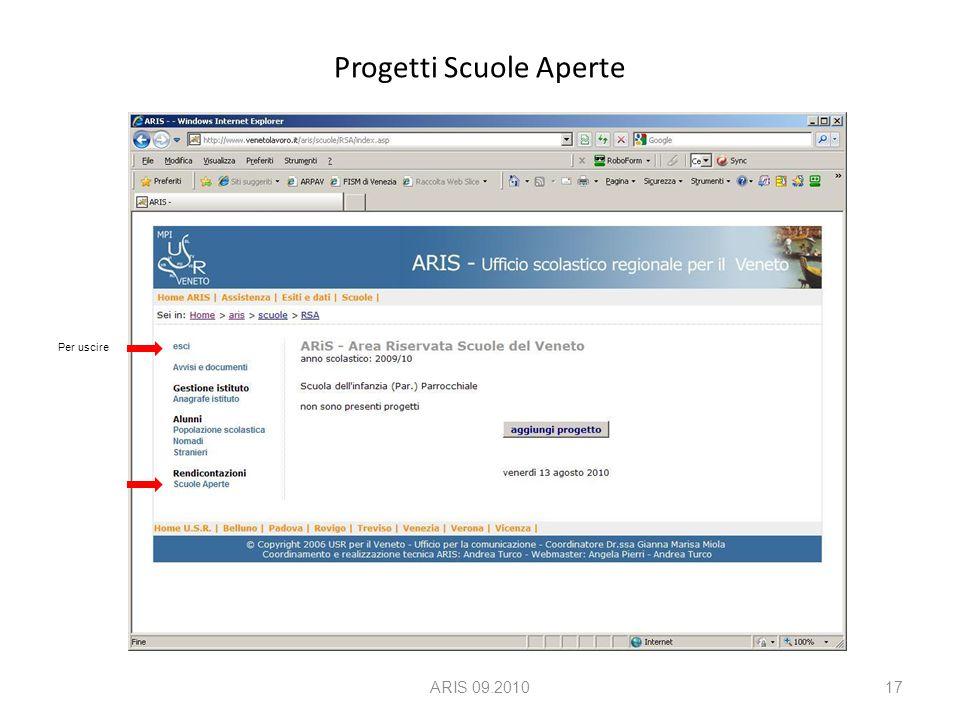 Progetti Scuole Aperte ARIS 09.201017 Per uscire