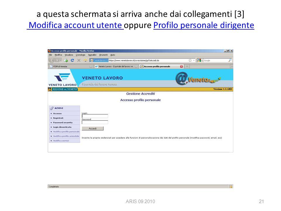 a questa schermata si arriva anche dai collegamenti [3] Modifica account utente oppure Profilo personale dirigente Modifica account utente Profilo personale dirigente ARIS 09.201021