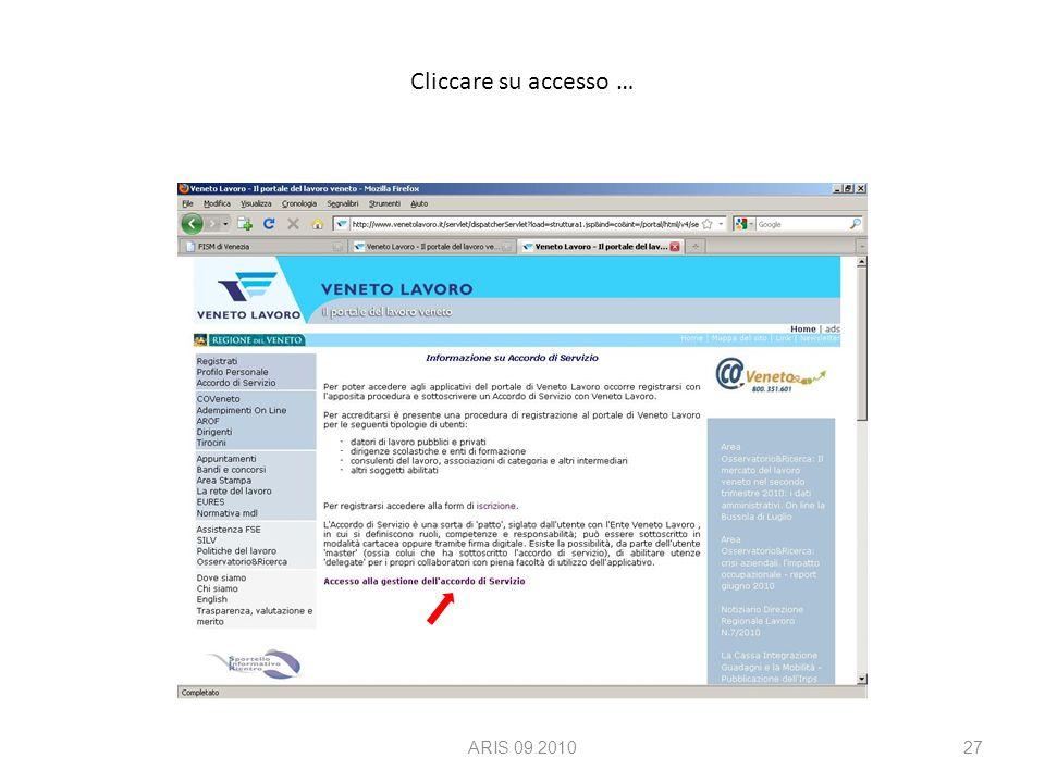 Cliccare su accesso … ARIS 09.201027