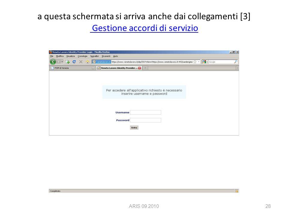 a questa schermata si arriva anche dai collegamenti [3] Gestione accordi di servizio Gestione accordi di servizio ARIS 09.201028