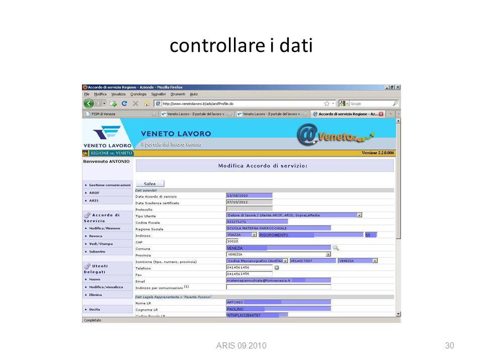 controllare i dati ARIS 09.201030