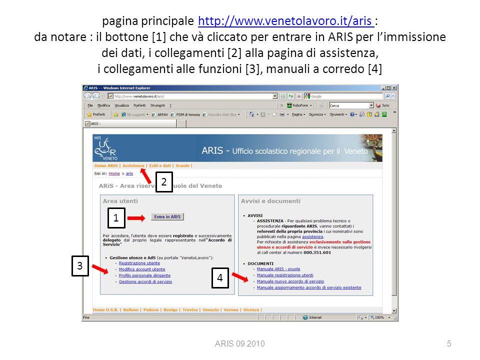 pagina principale http://www.venetolavoro.it/aris : da notare : il bottone [1] che và cliccato per entrare in ARIS per l'immissione dei dati, i collegamenti [2] alla pagina di assistenza, i collegamenti alle funzioni [3], manuali a corredo [4]http://www.venetolavoro.it/aris ARIS 09.20105 1 2 4 3