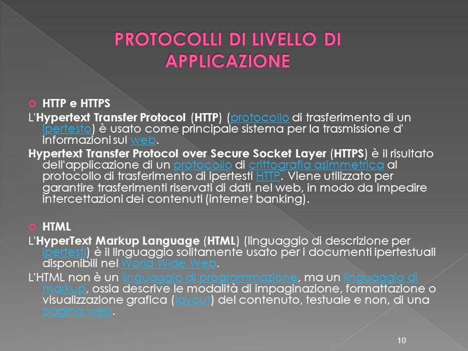 HTTP e HTTPS L Hypertext Transfer Protocol ( HTTP ) (protocollo di trasferimento di un ipertesto) è usato come principale sistema per la trasmissione d informazioni sul web.protocollo ipertestoweb Hypertext Transfer Protocol over Secure Socket Layer ( HTTPS ) è il risultato dell applicazione di un protocollo di crittografia asimmetrica al protocollo di trasferimento di ipertesti HTTP.