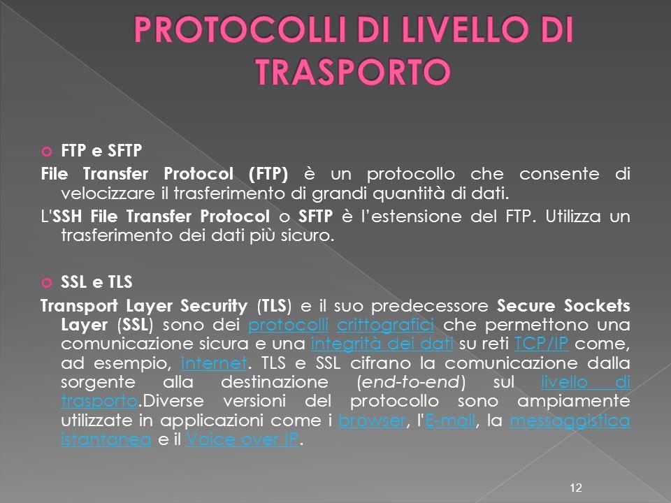 FTP e SFTP File Transfer Protocol (FTP) è un protocollo che consente di velocizzare il trasferimento di grandi quantità di dati. L' SSH File Transfer