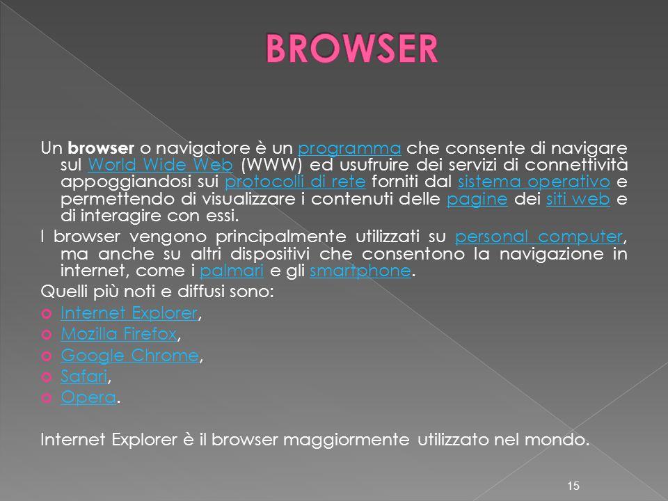 Un browser o navigatore è un programma che consente di navigare sul World Wide Web (WWW) ed usufruire dei servizi di connettività appoggiandosi sui pr