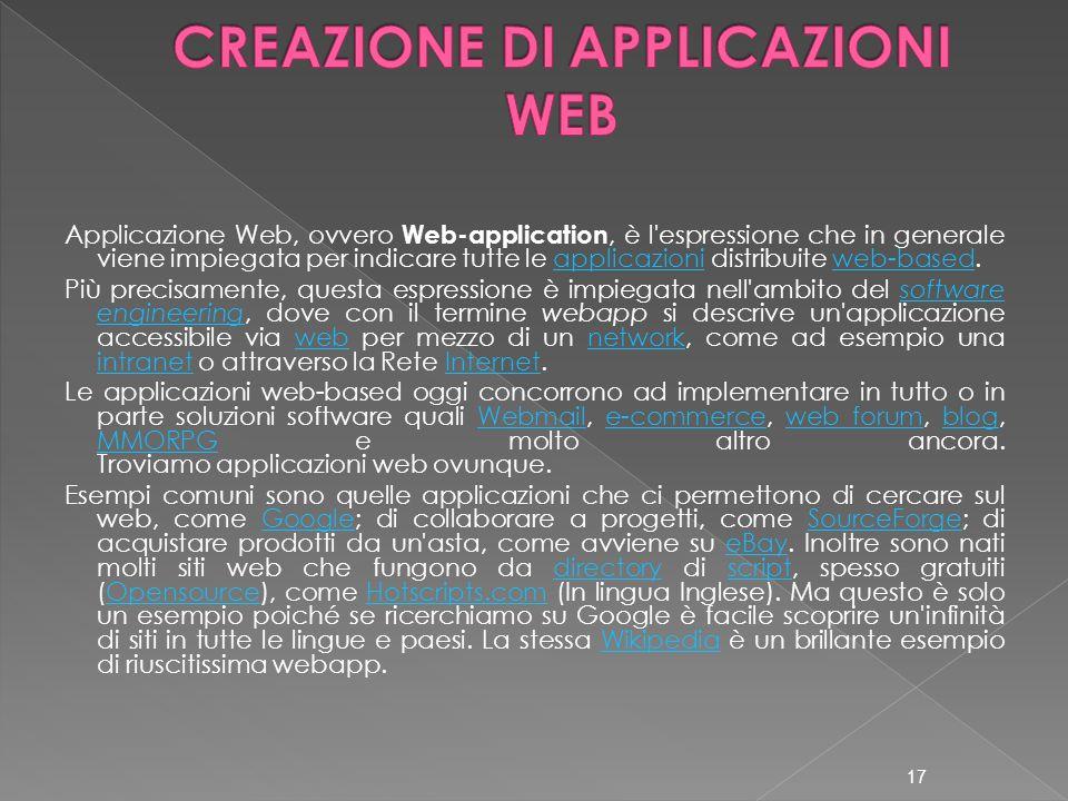 Applicazione Web, ovvero Web-application, è l'espressione che in generale viene impiegata per indicare tutte le applicazioni distribuite web-based.app