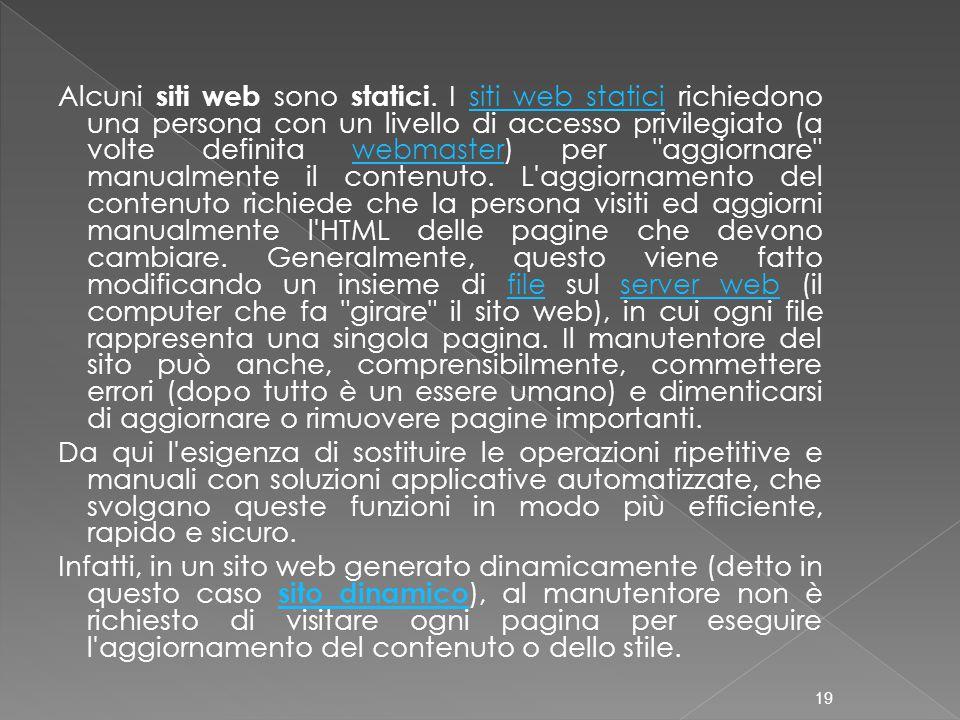Alcuni siti web sono statici. I siti web statici richiedono una persona con un livello di accesso privilegiato (a volte definita webmaster) per