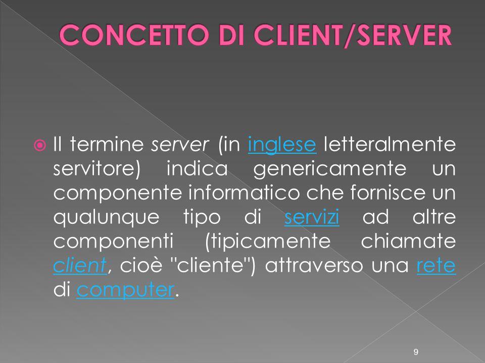  Il termine server (in inglese letteralmente servitore) indica genericamente un componente informatico che fornisce un qualunque tipo di servizi ad altre componenti (tipicamente chiamate client, cioè cliente ) attraverso una rete di computer.ingleseservizi clientretecomputer 9