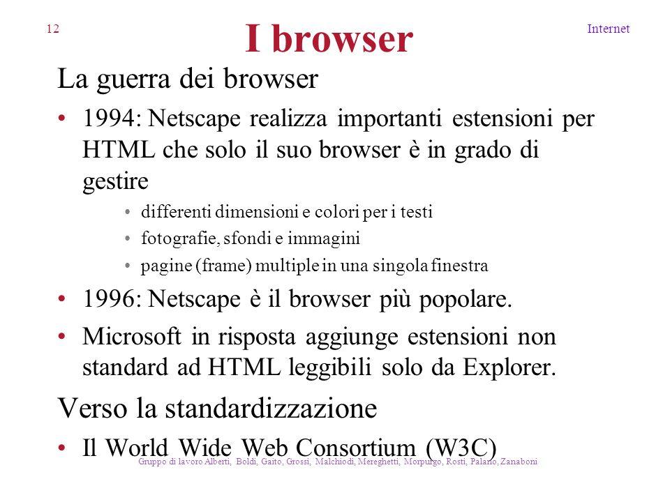 12Internet Gruppo di lavoro Alberti, Boldi, Gaito, Grossi, Malchiodi, Mereghetti, Morpurgo, Rosti, Palano, Zanaboni I browser La guerra dei browser 19