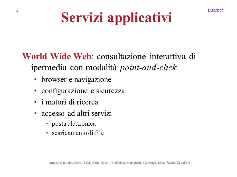 2Internet Gruppo di lavoro Alberti, Boldi, Gaito, Grossi, Malchiodi, Mereghetti, Morpurgo, Rosti, Palano, Zanaboni Servizi applicativi World Wide Web: