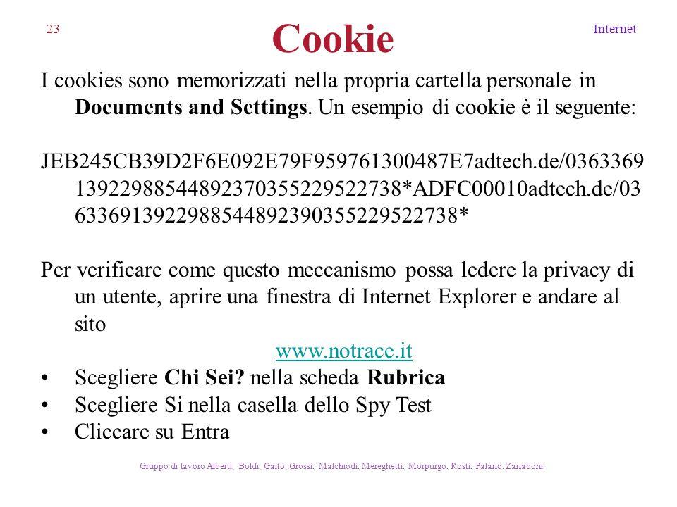 23Internet Gruppo di lavoro Alberti, Boldi, Gaito, Grossi, Malchiodi, Mereghetti, Morpurgo, Rosti, Palano, Zanaboni I cookies sono memorizzati nella p