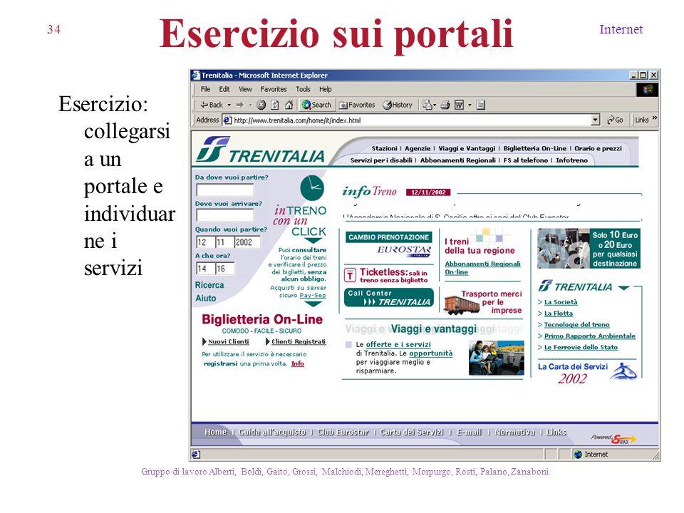 34Internet Gruppo di lavoro Alberti, Boldi, Gaito, Grossi, Malchiodi, Mereghetti, Morpurgo, Rosti, Palano, Zanaboni Esercizio sui portali Esercizio: c