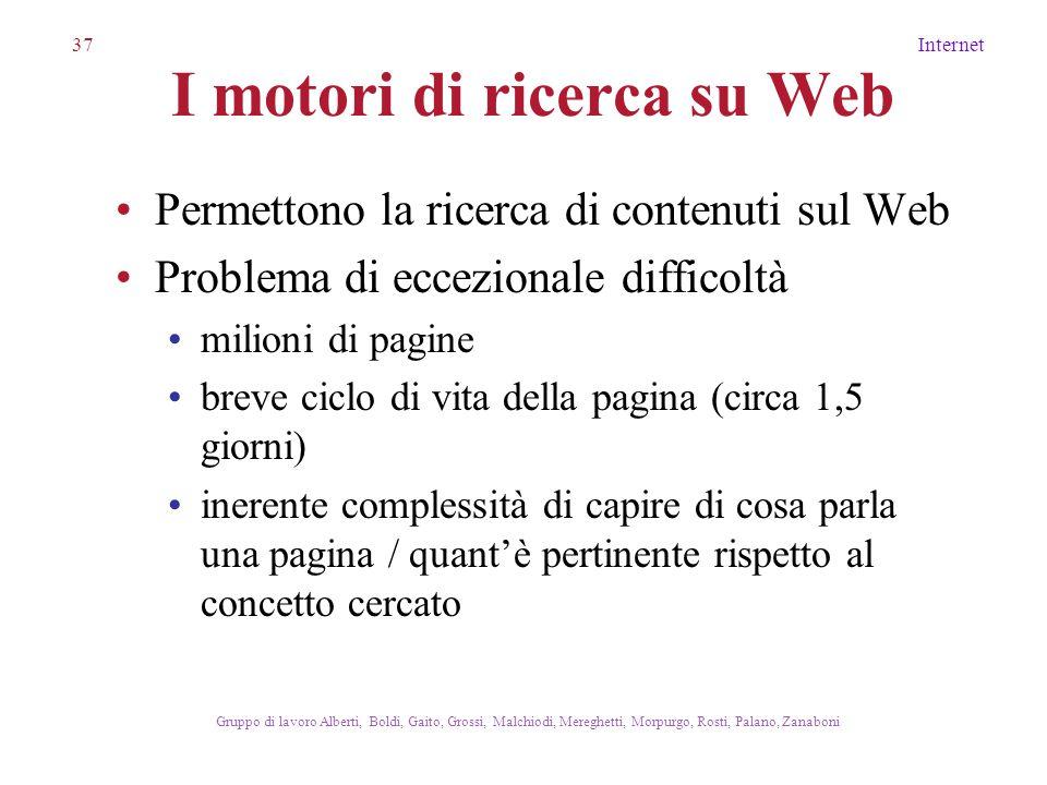 37Internet Gruppo di lavoro Alberti, Boldi, Gaito, Grossi, Malchiodi, Mereghetti, Morpurgo, Rosti, Palano, Zanaboni I motori di ricerca su Web Permett