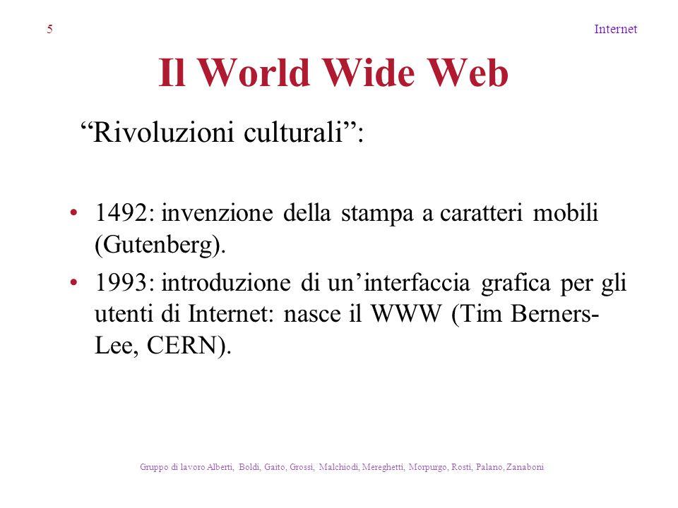 5Internet Gruppo di lavoro Alberti, Boldi, Gaito, Grossi, Malchiodi, Mereghetti, Morpurgo, Rosti, Palano, Zanaboni Il World Wide Web 1492: invenzione