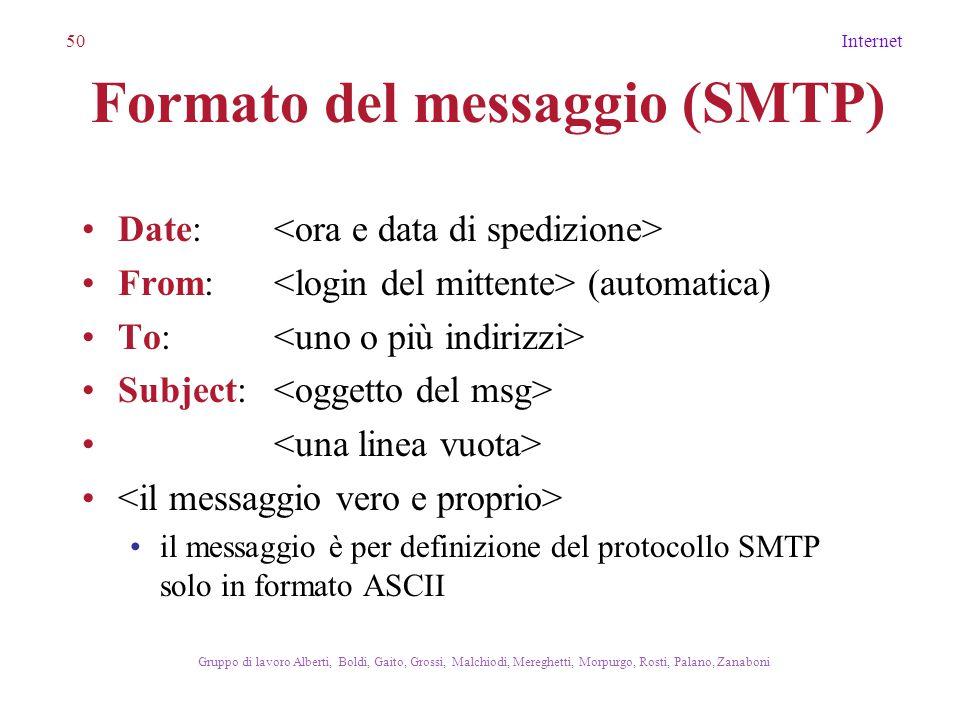 50Internet Gruppo di lavoro Alberti, Boldi, Gaito, Grossi, Malchiodi, Mereghetti, Morpurgo, Rosti, Palano, Zanaboni Formato del messaggio (SMTP) Date: From: (automatica) To: Subject: il messaggio è per definizione del protocollo SMTP solo in formato ASCII