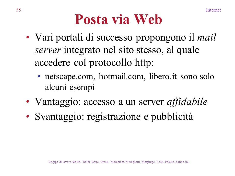 55Internet Gruppo di lavoro Alberti, Boldi, Gaito, Grossi, Malchiodi, Mereghetti, Morpurgo, Rosti, Palano, Zanaboni Posta via Web Vari portali di succ