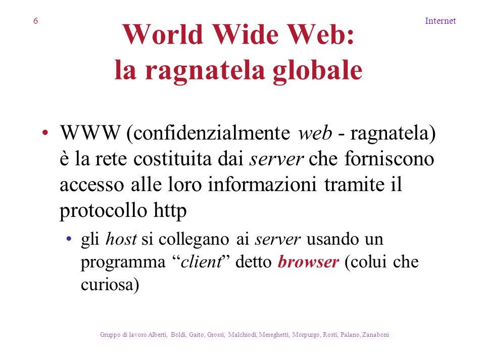 7Internet Gruppo di lavoro Alberti, Boldi, Gaito, Grossi, Malchiodi, Mereghetti, Morpurgo, Rosti, Palano, Zanaboni Il World Wide Web URL HTTP HTML Che cos'è: