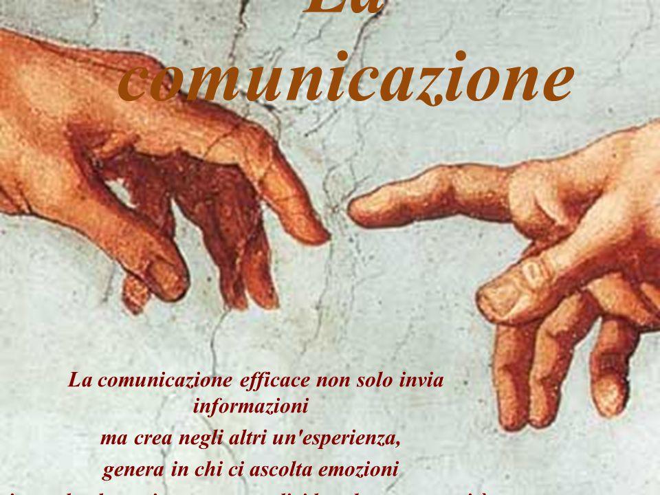 La comunicazione La comunicazione efficace non solo invia informazioni ma crea negli altri un esperienza, genera in chi ci ascolta emozioni in modo che essi possano condividere la nostra verità.