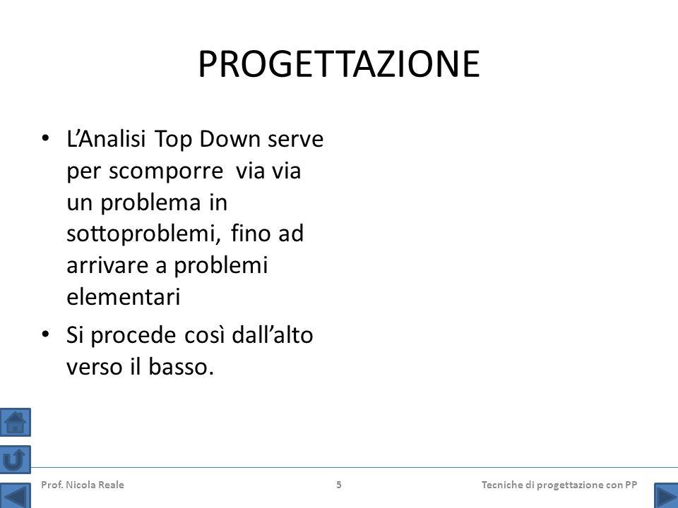 PROGETTAZIONE L'Analisi Top Down serve per scomporre via via un problema in sottoproblemi, fino ad arrivare a problemi elementari Si procede così dall'alto verso il basso.