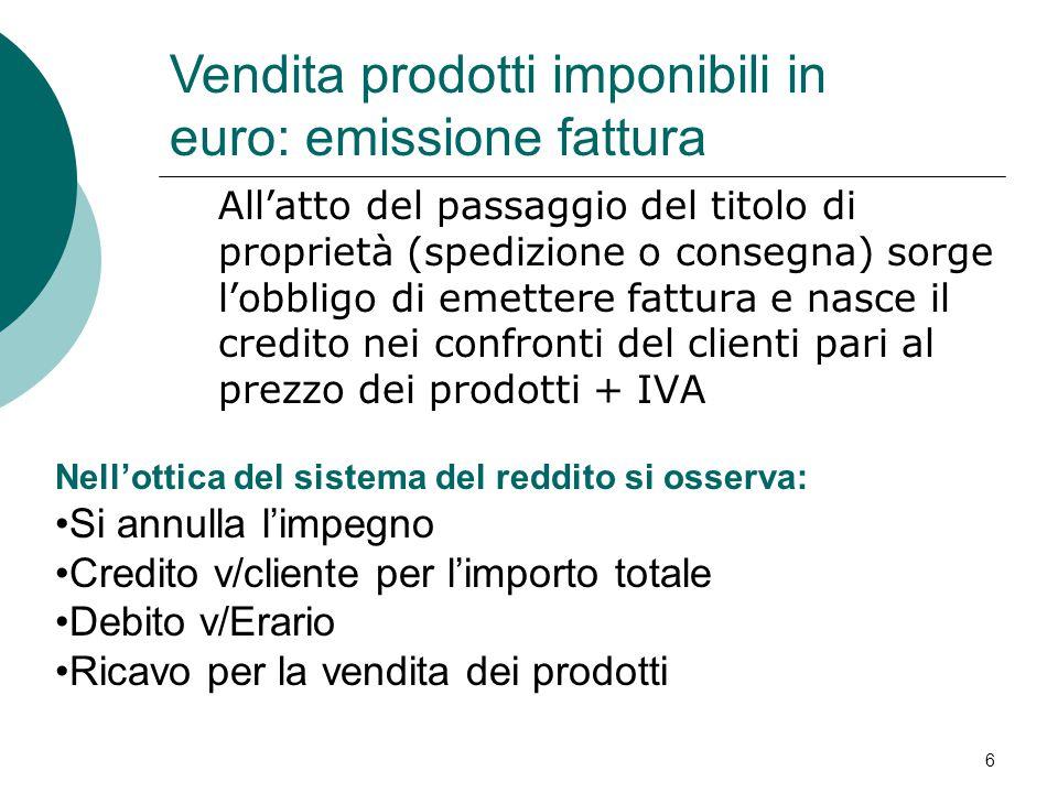 7 In data 3/4/07 la società Alfa srl stipula un contratto per la vendita a Beta di macchine da ufficio per € 15.000 DAREAVERE Clienti c/impegni 15.000 Prodotti da consegnare 15.000 Esempio : vendite imponibili in euro(1)