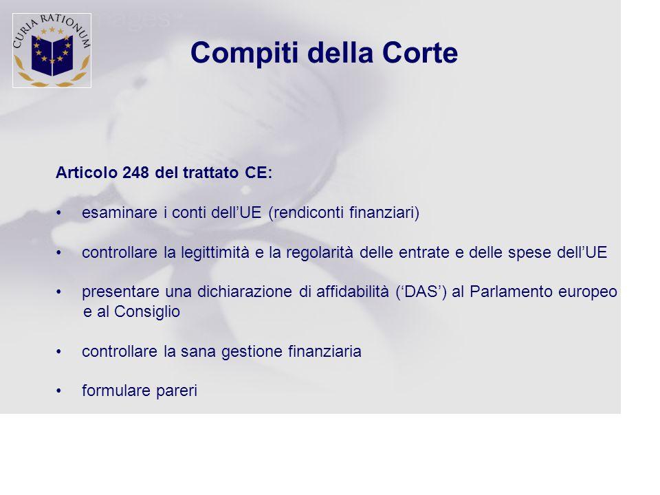 Compiti della Corte Articolo 248 del trattato CE: esaminare i conti dell'UE (rendiconti finanziari) controllare la legittimità e la regolarità delle entrate e delle spese dell'UE presentare una dichiarazione di affidabilità ('DAS') al Parlamento europeo e al Consiglio controllare la sana gestione finanziaria formulare pareri