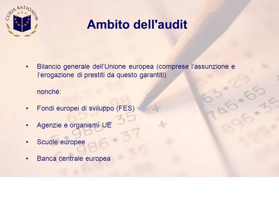 Ambito dell audit Bilancio generale dell'Unione europea (comprese l'assunzione e l'erogazione di prestiti da questo garantiti) nonché: Fondi europei di sviluppo (FES) Agenzie e organismi UE Scuole europee Banca centrale europea