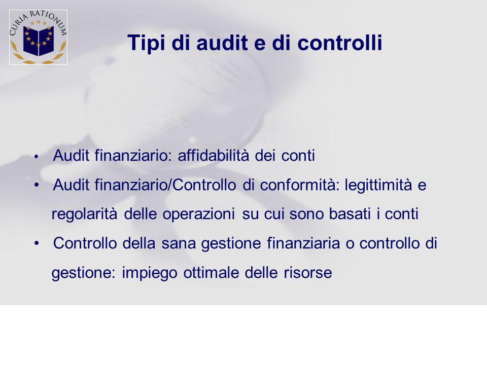 Tipi di audit e di controlli  Audit finanziario: affidabilità dei conti Audit finanziario/Controllo di conformità: legittimità e regolarità delle operazioni su cui sono basati i conti Controllo della sana gestione finanziaria o controllo di gestione: impiego ottimale delle risorse