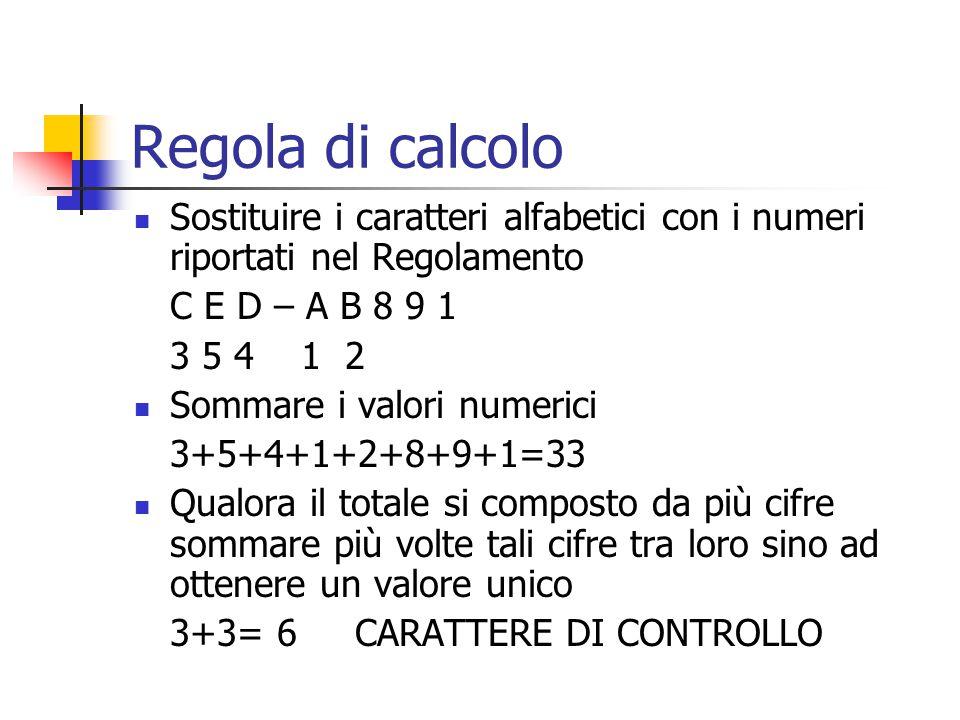 Regola di calcolo Sostituire i caratteri alfabetici con i numeri riportati nel Regolamento C E D – A B 8 9 1 3 5 4 1 2 Sommare i valori numerici 3+5+4