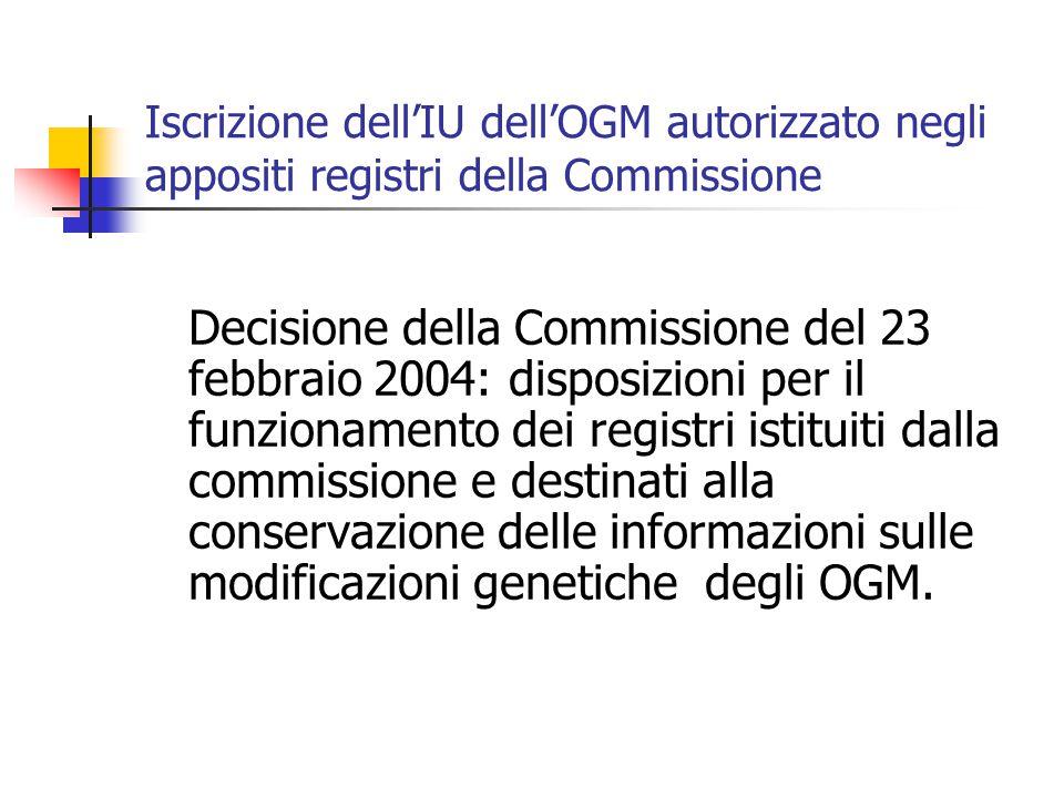 Iscrizione dell'IU dell'OGM autorizzato negli appositi registri della Commissione Decisione della Commissione del 23 febbraio 2004: disposizioni per i