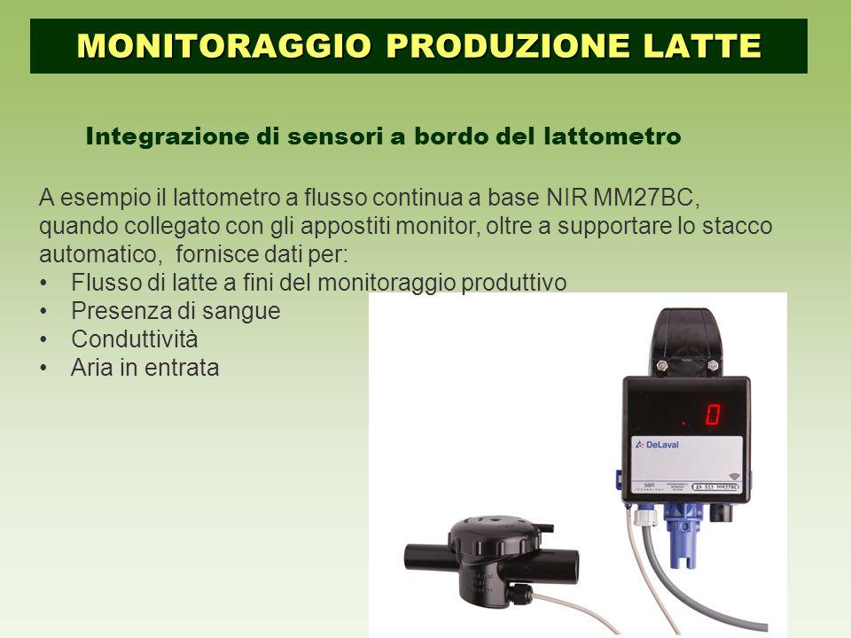 Integrazione di sensori a bordo del lattometro A esempio il lattometro a flusso continua a base NIR MM27BC, quando collegato con gli appostiti monitor, oltre a supportare lo stacco automatico, fornisce dati per: Flusso di latte a fini del monitoraggio produttivo Presenza di sangue Conduttività Aria in entrata