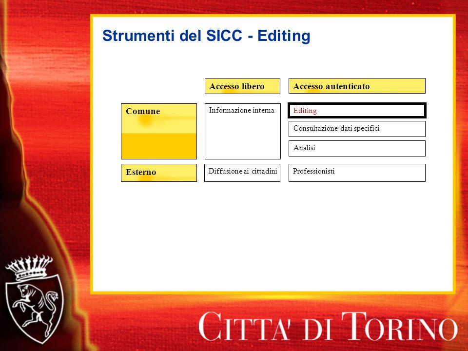 Strumenti del SICC - Editing Accesso autenticatoAccesso libero Esterno Comune Informazione interna Diffusione ai cittadiniProfessionisti Editing Consultazione dati specifici Analisi
