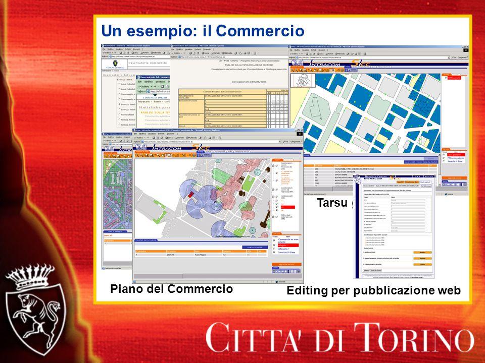 Un esempio: il Commercio Dwh Commercio Tarsu georiferita Editing per pubblicazione web Piano del Commercio