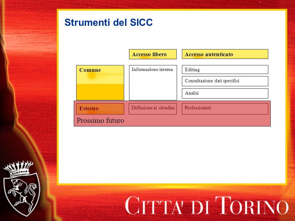 Strumenti del SICC Accesso autenticatoAccesso libero Esterno Comune Informazione interna Diffusione ai cittadiniProfessionisti Prossimo futuro Editing Consultazione dati specifici Analisi