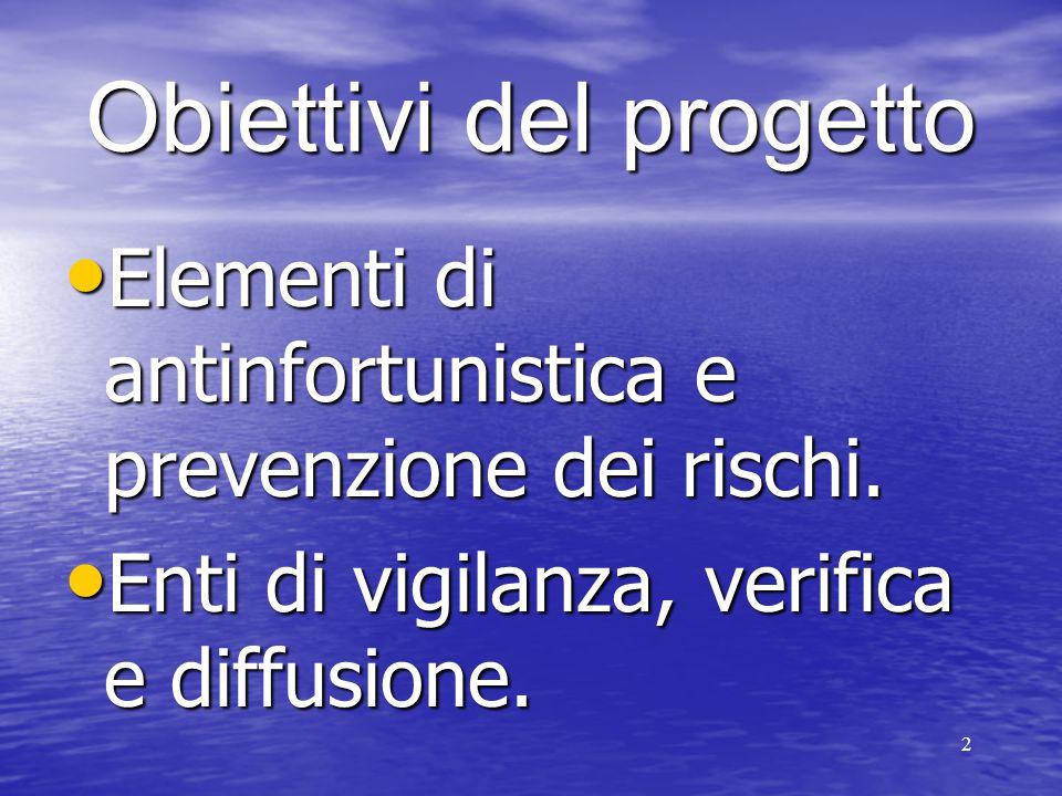 2 Obiettivi del progetto Elementi di antinfortunistica e prevenzione dei rischi. Elementi di antinfortunistica e prevenzione dei rischi. Enti di vigil
