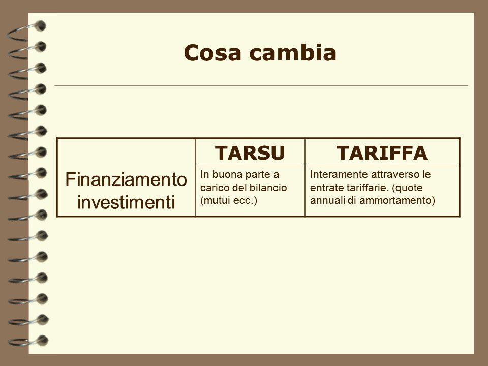 TARSUTARIFFA Finanziamento del costo In parte attraverso il gettito della tassa, in parte attraverso la finanza comunale. Interamente attraverso le en