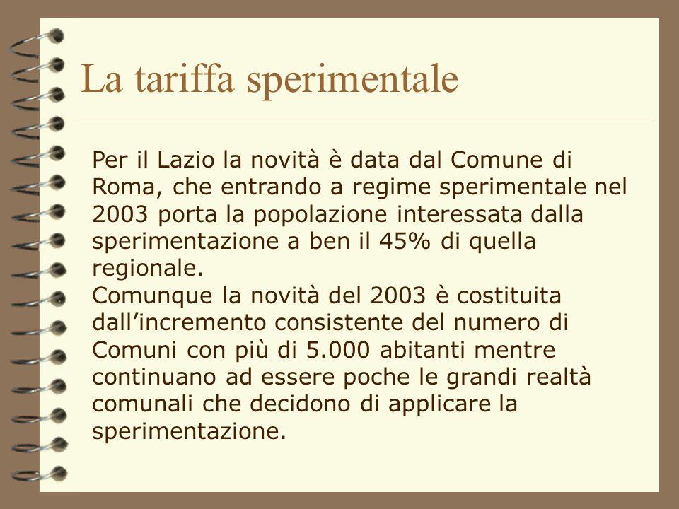 La tariffa sperimentale I Comuni a tariffa rappresentano il 5,5% del totale. Sotto il profilo della distribuzione geografica, si rileva che la sperime