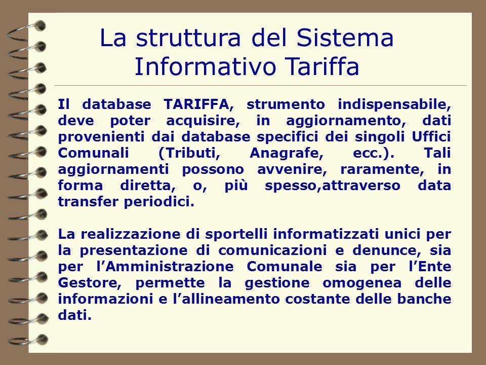 La struttura del Sistema Informativo Tariffa All'interno del Sistema, l'applicativo G.I.S. diviene il gestore delle informazioni a carattere territori