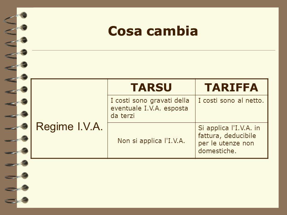 TARSUTARIFFA Regime I.V.A.I costi sono gravati della eventuale I.V.A.
